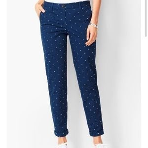 TALBOTS Girlfriend Chino Navy White Polka Dora 14